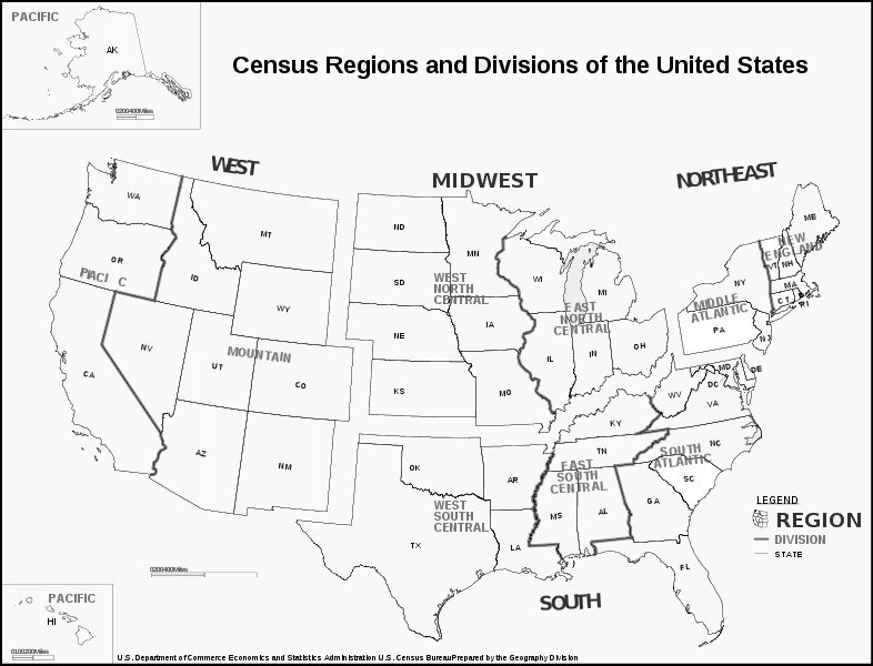 Census Bureau Regions Map on